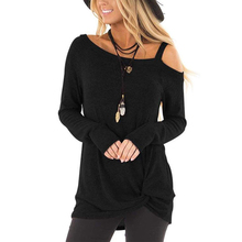 New European and American Women's Tops Knotted Wild Long-Sleeved One-shoulder T-shirt cat embroidered drop shoulder knotted hem shirt