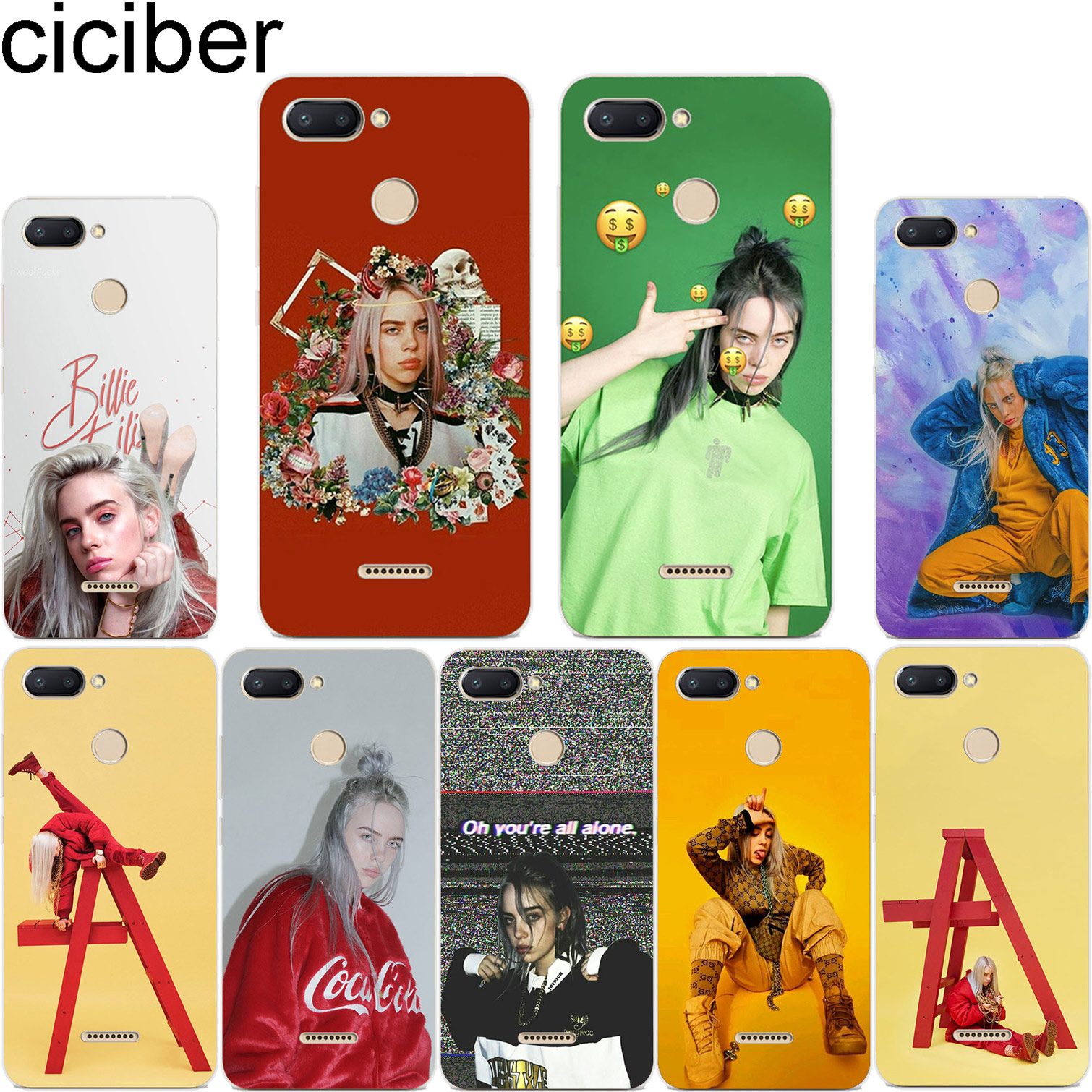 ciciber Billie Eilish For Xiaomi Red 6 5 4 3 A X S Pro Plus S2 Soft Clear TPU Back for Redmi Note 6 5 4 3 X A Pro Phone Cases image