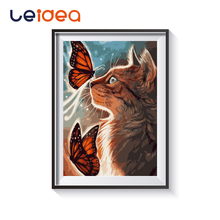 Animal Cat And Butterfly DIY Painting By Numbers On Canvas Calligraphy Wall Art For Home Decor 40x50
