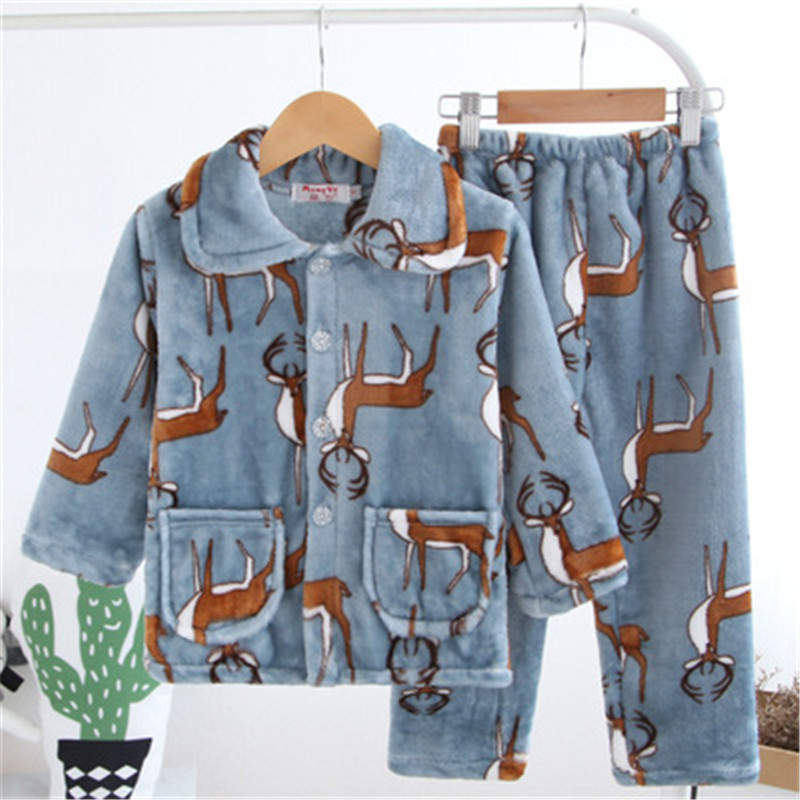 Kids Flannel   Pajamas     Sets   Warm Coral Fleece High Quality Girls Cartoon Sleepwear Winter Long Sleeve Home Clothing
