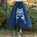 Classic Vintage Embroidery Blue Color Pleated Skirt Autumn Winter New Design Women Linen Casual A Line Skirts