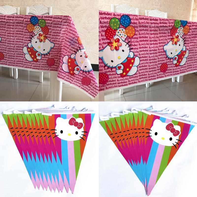 Hello Kitty Baby Shower Birthday Party Ideas Disposable Table Cloths Banner Pennant Bunting Flags Tableware Set Decorations