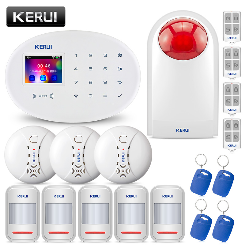 KERUI 2 4G WiFi GSM SIM RFID Security Alarm System Home Garden Villa Burglar Alarm Kit