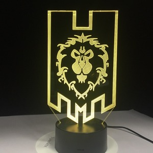 Image 3 - World of Warcraft 3D HA CONDOTTO La Lampada La Alleanza Tribale Segni Remote Touch Control Luce di Notte del USB Lampada Da Tavolo Decorativa Amico trasporto libero del Regalo