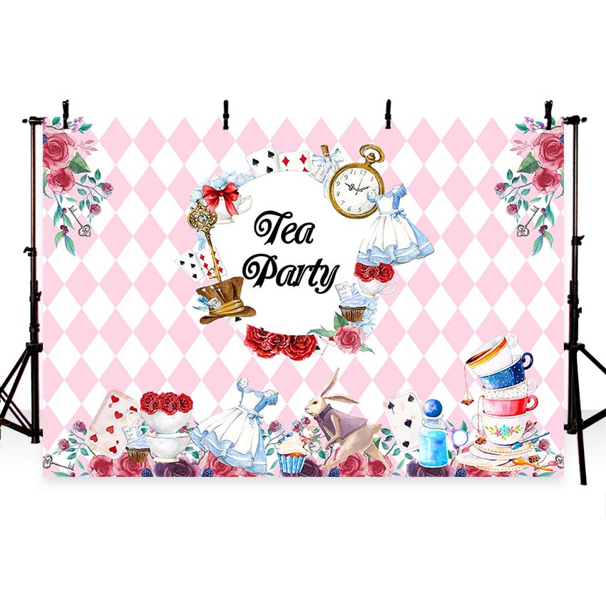 MEHOFOTO Vinyl Photographic Background Tea Party Alice In Wonderland Birthday Pink Girl Children Backdrop Banner Photo Studio in Background from Consumer Electronics