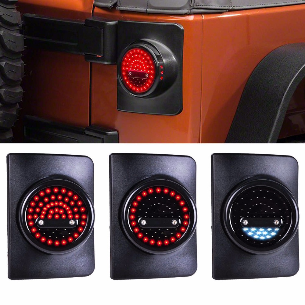 цена на For Jeep Wrangler JK JKU LED Round Tail Lights JKU Running/Brake Light JK Turn Signal Reverse Light For Jeep JK Brake Light