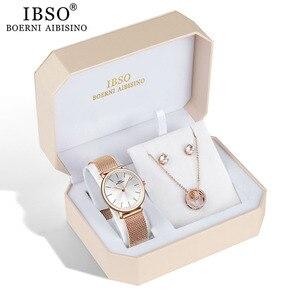 Image 3 - IBSO العلامة التجارية النساء ارتفع الذهب ساعة القرط قلادة مجموعة مجوهرات نسائية مجموعة الموضة الإبداعية ساعة كوارتز كريستال سيدة هدية