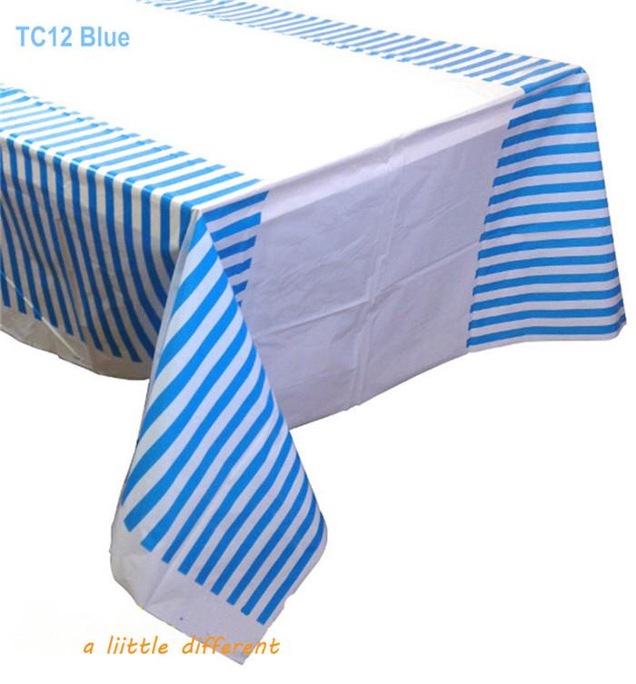Powder Blue Striped Plastic Tablecloth 5