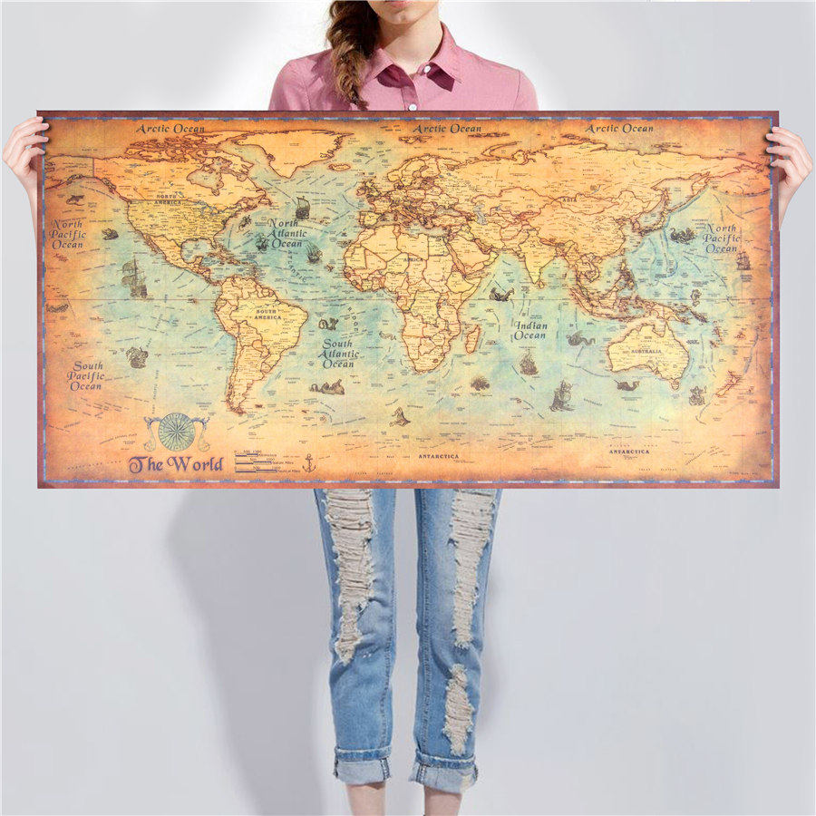 World Map Deluxe Vintage Poster Retro Ocean Sea Maps Living Room Bar ...