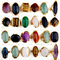 5pcs/lot Mix Styles Gold Plated Big Natural Stone Rings For Women/Men Vintage Party Ring Wholesale Jewelry