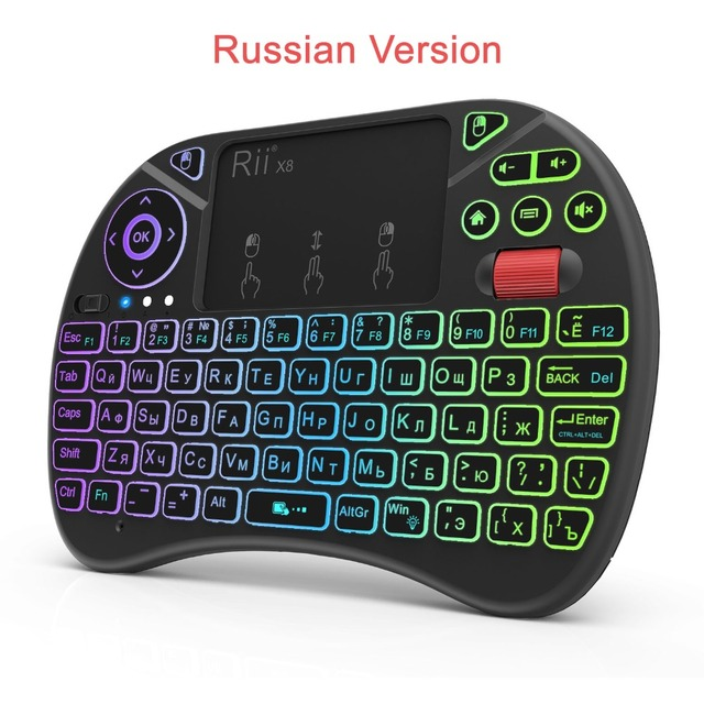 מיני מקלדת Rii X8 2.4GHz אלחוטי רוסית מקלדת עם משטח מגע, צבע משתנה LED עם תאורה אחורית עבור מיני מחשב/טלוויזיה תיבה