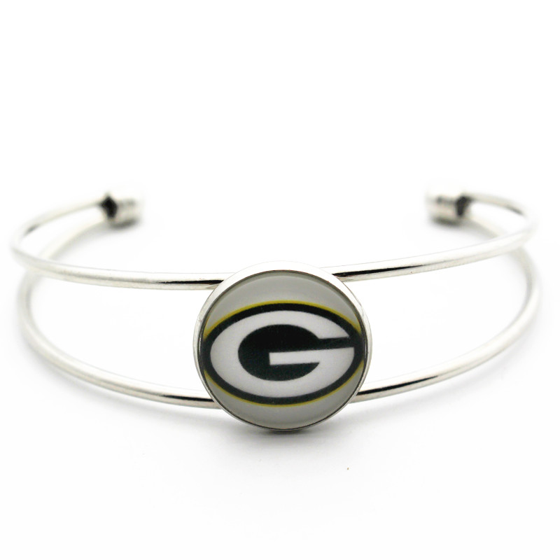 New Arrived 1pcs Copper Bracelet Jewelry 18mm Glass Print Football Green Bay Packers Open Bracelet&Bangles For Women Men Git