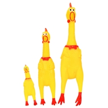 2017  Funny gadgets High Quality novelty Yellow rubber Dog Toy Fun Novelty Squawking Screaming Shrilling Rubber Chicken toy
