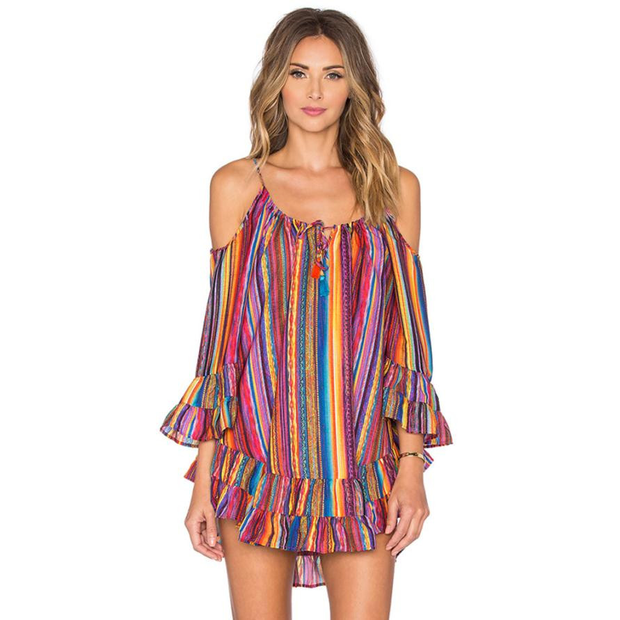 Chiffon Strap Dress Women Summer Rainbow Print Fringed Beach Dresess Loose Cheap Clothes China Sukienka Damska Kleider#30