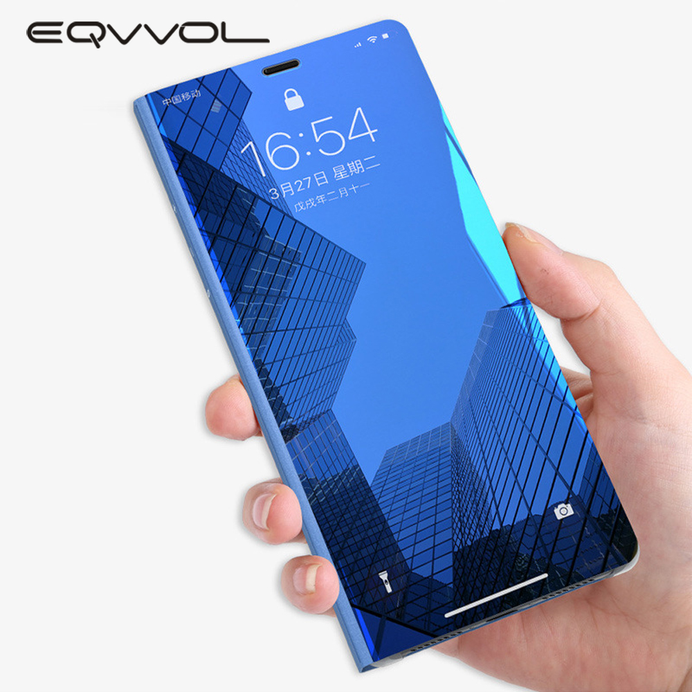 wholesale dealer b4a0c e5603 US $3.71 29% OFF|Eqvvol Clear View Smart Mirror Phone Case For iphone XR XS  MAX X 8 7 6 6s Plus Cases Flip Stand Leather Cover For iphone 10 Caqa-in ...