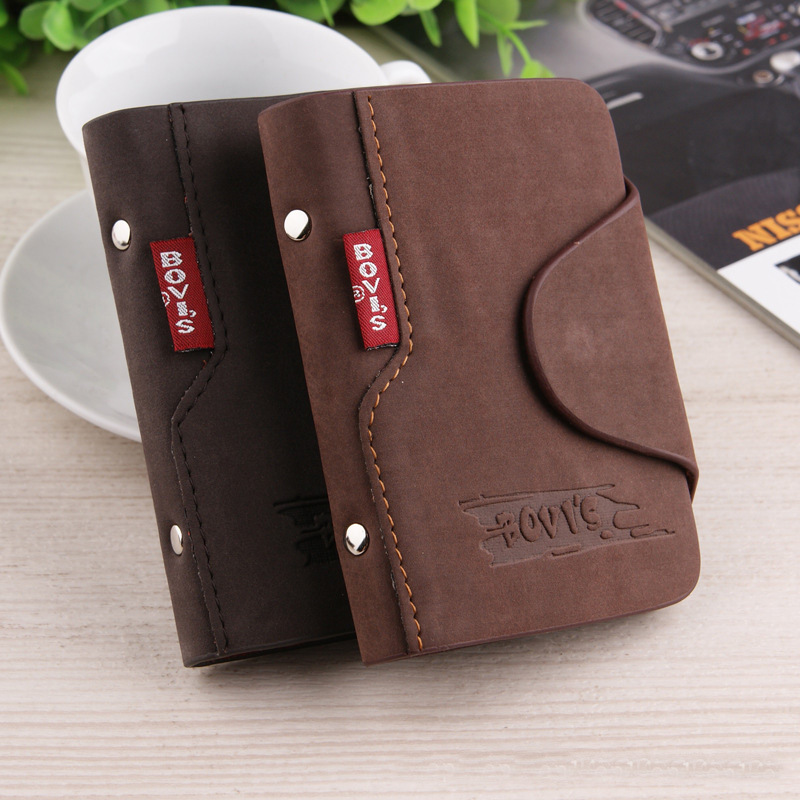 Card Wallet Business Credit Top Men PU BOVIS Classical Stylemen Vintage