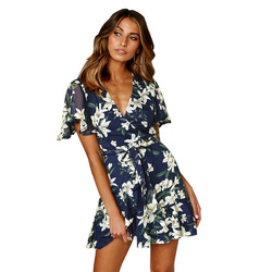 Sexy V Neck Mini Sukienka kobiety kwiatowy z krótkim rękawem Sashes lato sukienki tunika wysokiej talii panie Sundress kobiet Vestidos Sukienka 4