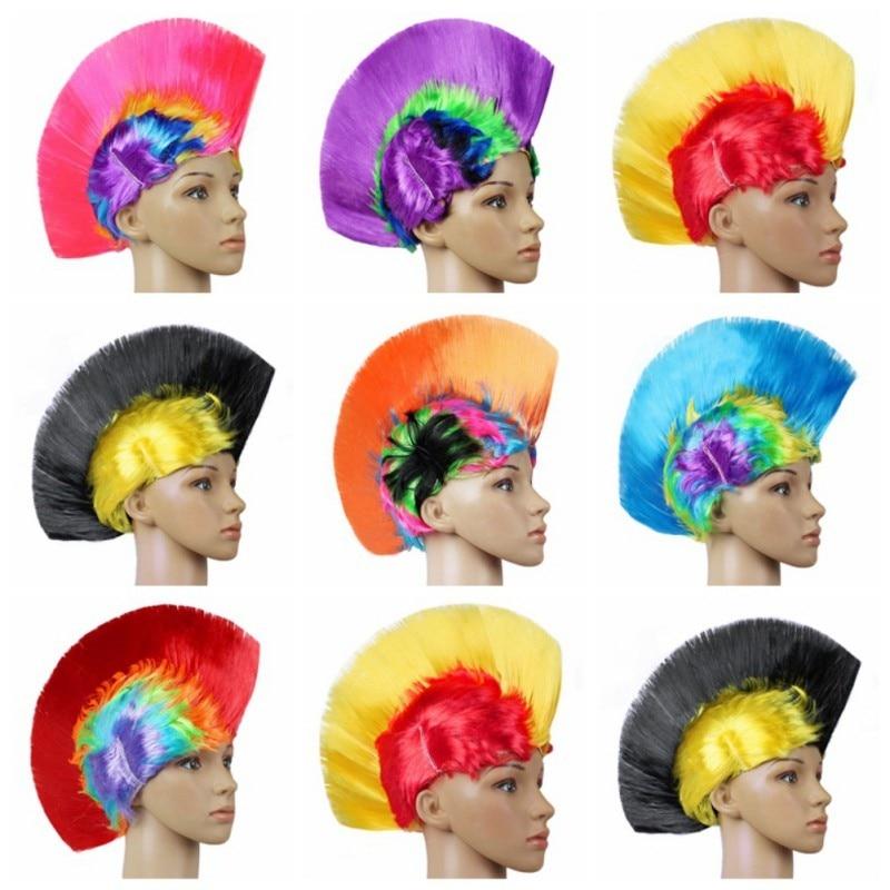 Hot Rainbow Mohawk Hair Wig Fancy Costume Punk Rock Wigs Halloween Cosplay Party 1