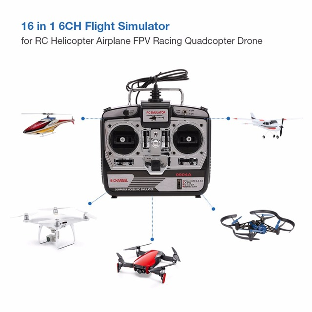 DTXMX 6CH RC Flight Simulator JTL-0904A support Realflight G7 Phoenix 5.0 XTR remote control helicopter fixed-wing drone (MODE2)