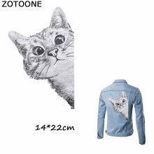 ZOTOONE Cartton Gray Cat Patches Iron on Transfers Sticker for Clothes Diy T-shirt Dresses Girl Clothing Applique E