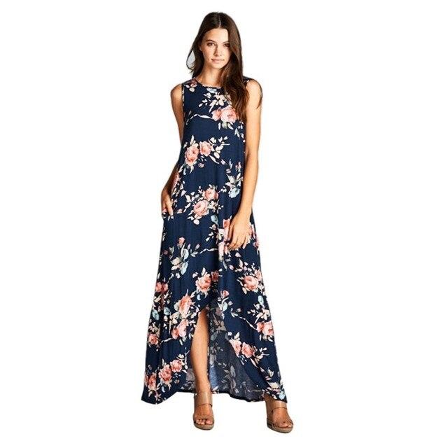 8afcb0f2ce5 2017 Women Casual Summer Dress Fashion Print Ankle-Length Long Dresses  Female Popular Mature Elegant Vestidos YM