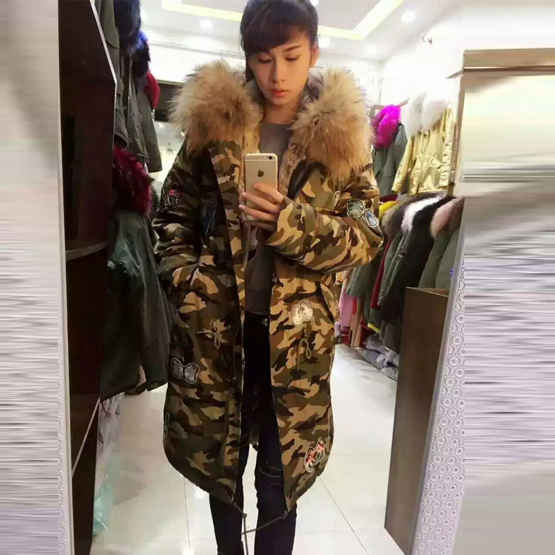 New Warming Women Winter Parka Camouflage shell Thicken Natural Apricot fur raccoon fur collar fur parkas