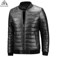 PEILOW Plus Size M 6XL 7XL 8XL Motorcycle Leather Jacket Men Winter Baseball Collar Leather Clothing Men Leather Jackets Coats