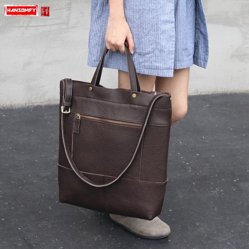 1ca4b08c5903 Новые кожаные вертикальные для женщин сумка большой ёмкость женские мягкие кожаные  сумочки книги по искусству пригородных