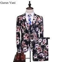 New Brand Men Floral Hip Hop Dress Blazer Set Fashion Men S Wedding Suits Male Slim