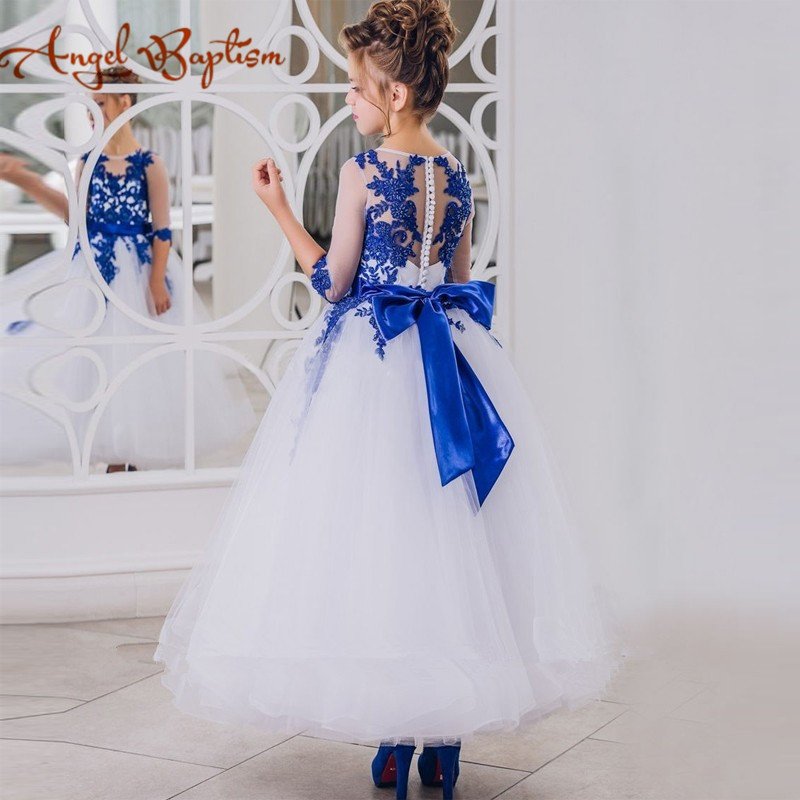 Royal blue ankle length sheer lace beaded flower girl dress A-line kids graduation evening gown with sleeves sash for communion sheer neck lace beaded new flower girl
