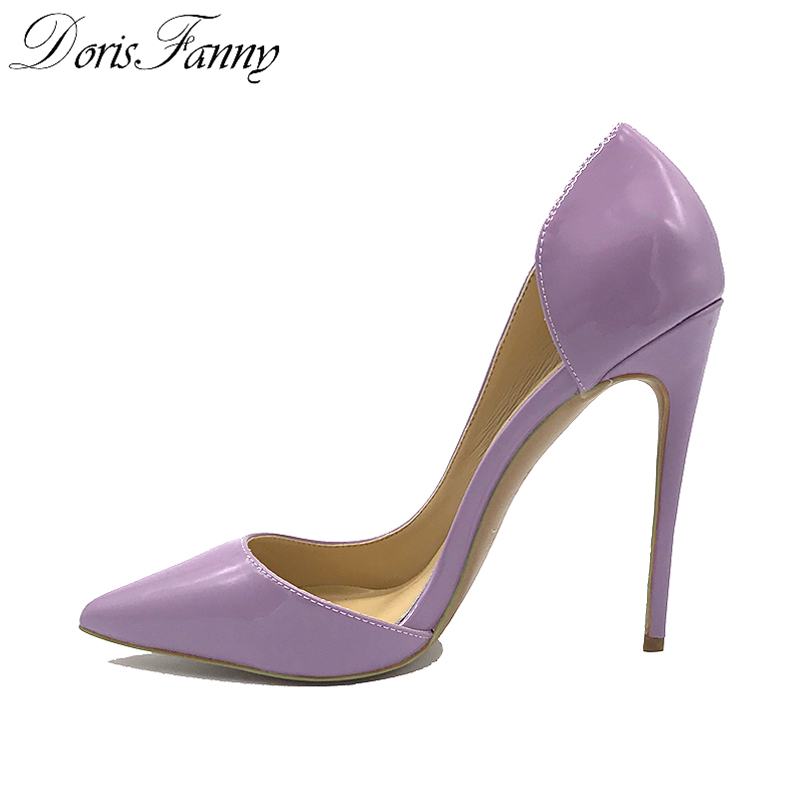 DorisFanny Sexy Patent Leather High Heels Purple Pointed toe Pumps Shoes Party Shoes Women Stiletto High heel Pump 12cm dorisfanny sparkly glitter sequin high heel pumps shoes sexy party club prom 12cm size 33 45 womens high heel shoes