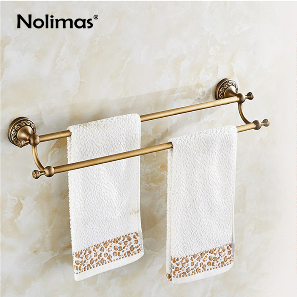 Bathroom Copper Towel Bar Antique Brass Toilet Towel Holder Double Towel Rack Shelf Solid Holder Brief Fixed Bathroom Accessory antique fixed bath towel holder brass towel rack holder for hotel or home bathroom storage rack black oil brushed towel shelf