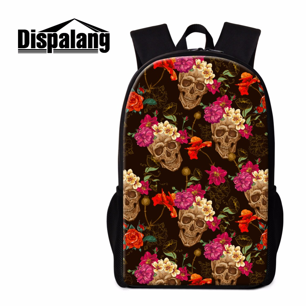 Dispalang Cool Skull Backpacks for Girls Floral Unique School Bags Casual Mochilas for Boys Bookbags College Students Back Pack