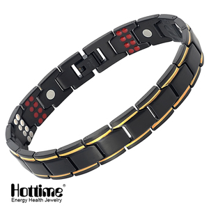 Image 2 - Hottime 109 PCS Bio Elements Energy Stone 3500 Gauss Magnetic Therapy Germanium Bracelet 4 IN 1 Mens Fashion Health Jewelry