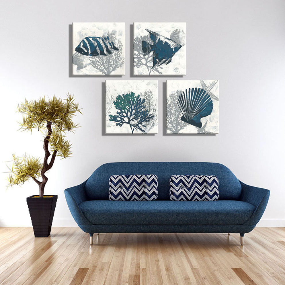 Aliexpress Com Buy 4piece Canvas Art Navy Blue Starfish Tropical Fish Oil Painting Vintage Home Decor Pictures Painting On The Wall For Living Room From