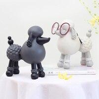 ROOGO 4 Color Poodle Dog Figurines Resin Desktop Ornament Gift Design Home Decoration