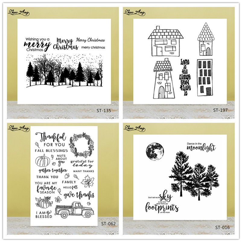 Scenery Subject Clear Silicone Stamp Seal for DIY Scrapbooking Photo Album Decorative Card Making Clear Stamps Seamless stamp in Stamps from Home Garden