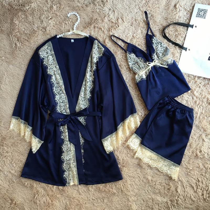 QWEEK Women   Pajamas   Lace Sexy Sleepwear Female Satin Pyjamas for Women Kimono Elegant Silk   Pajamas   3Pieces   Pajama     Set