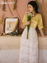Ubei Summer dress 2019 new layers skirt set fairy cake skirt+fashion short sleeve shirt women summer two-piece