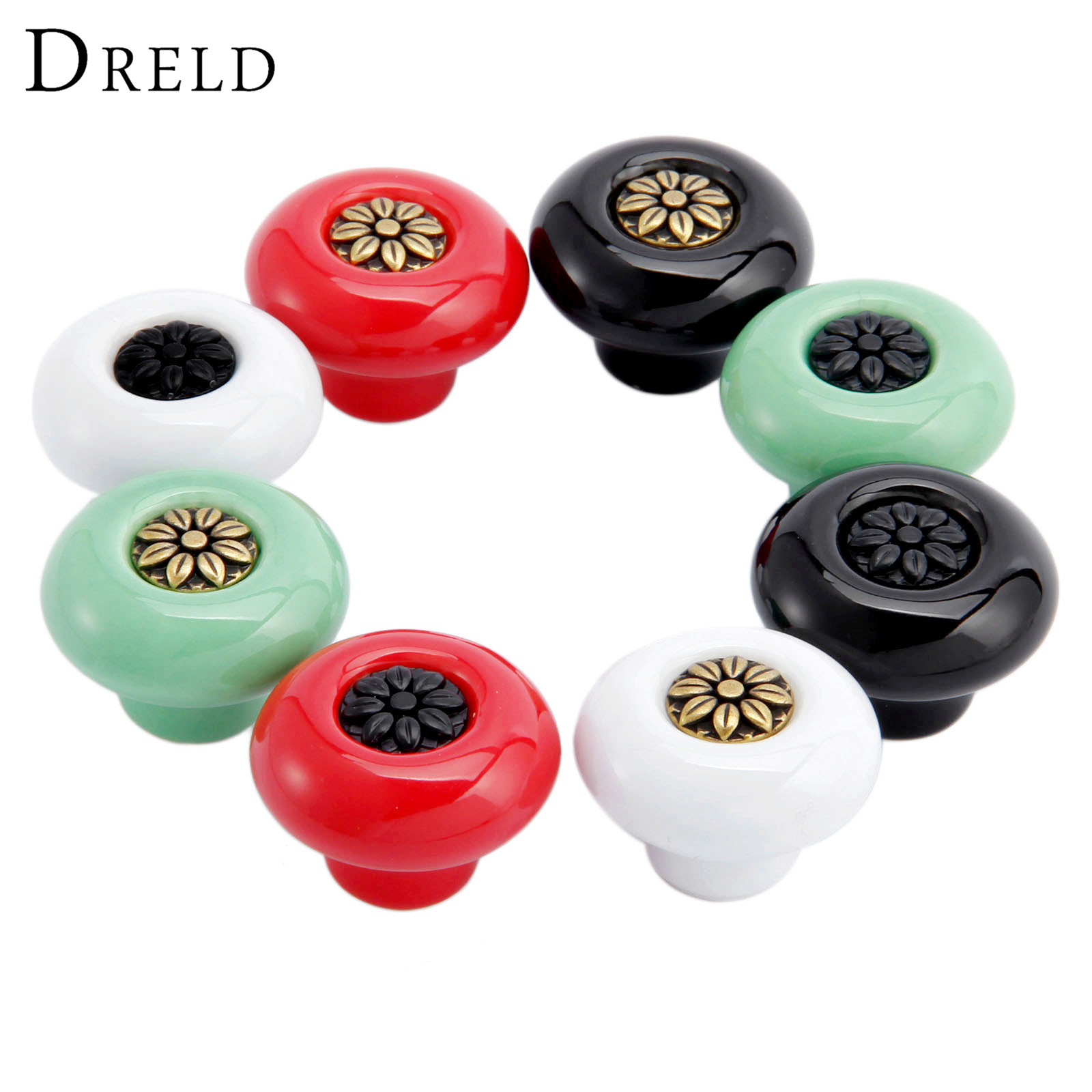 DRELD 8Pcs Furniture Handle Ceramic Door Knob Cupboard Drawer Cabinet Knobs and Handles Kitchen Pull Handle Furniture Hardware pastoralism pumpkin ceramic knob kitchen ceramic door cabinets cupboard knob and handles 1pcs