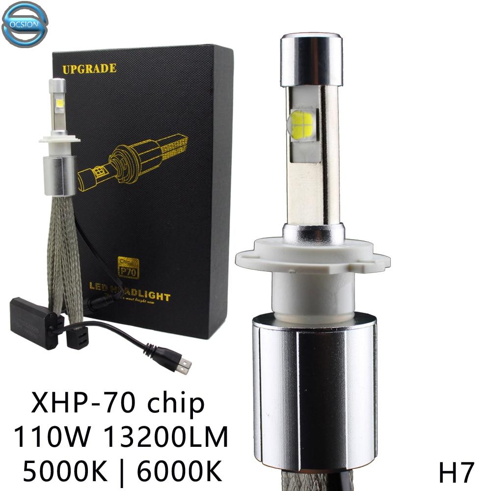 P70 LED Headlight H7 55W 6000K Super White Car Bulbs 5000k Ultra Bright 13200LM XHP-70 Chip Motorcycle Fog Lamp H4 H11 H8 h7 24 v 70 w super white vettler