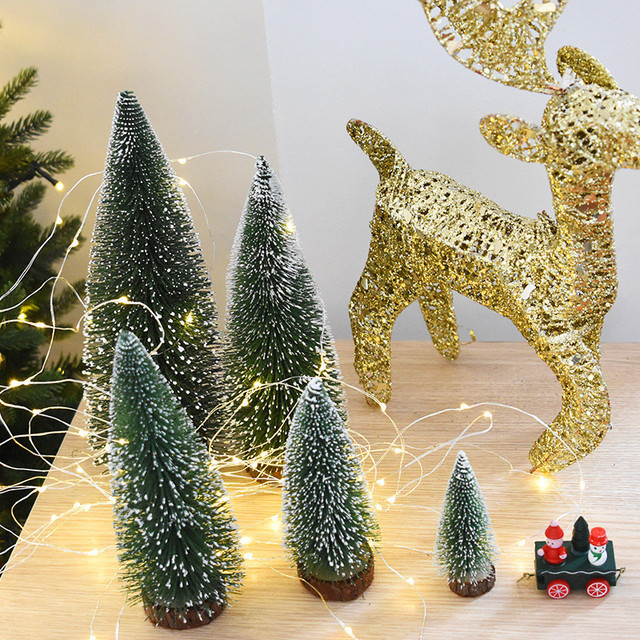 mini christmas tree white cedar desktop small christmas tree desktop decoration christmas decorations - Mini Christmas Decorations