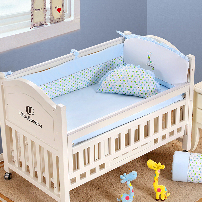 7 Pieces Baby bedding Sets Small Deer Button Printing Seven Sets Pillowx2+Bed Sheets+Bedside+Bed Cushions+ Quilt +Sheets Core5