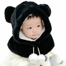 New Fashion Winter Baby Hat with Hood Scarf Cute Bear Ear Ball Warm Plush Kids Baby Hat Cap for Boys and Girls Children Hat