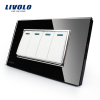 Livolo Manufacturer Luxury Black Crystal Glass Panel 3 Gangs 2 Way Push Button Switch VL C3K4S