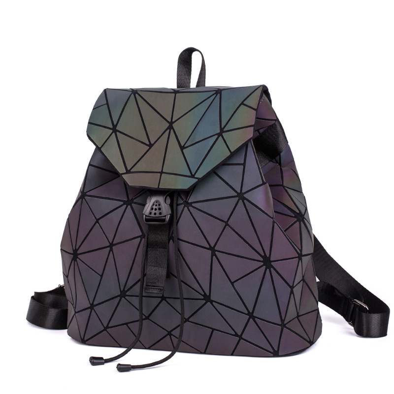 HTB19IRnXoGF3KVjSZFmq6zqPXXa2 Fashion Women Luminous Backpacks Female Shoulder Bag Girl Daily Backpack Geometry School Folding Bag Travel School Bags Hologram