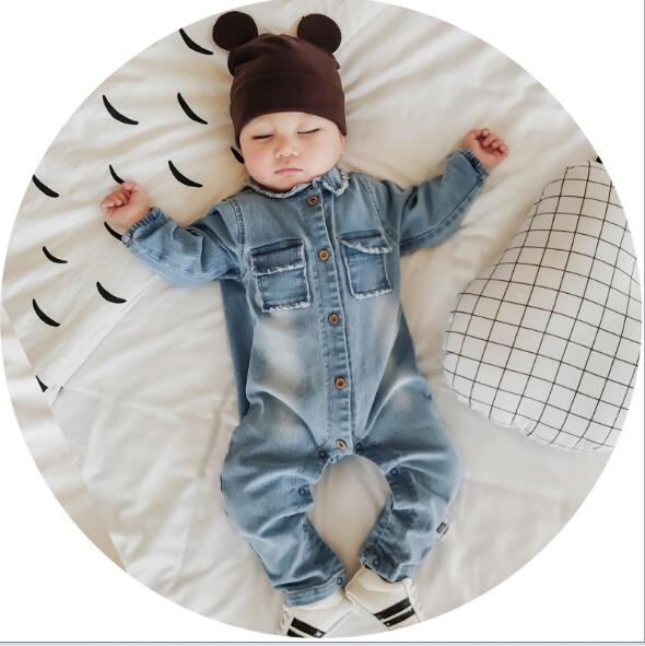 2017 Soft Denim Baby Romper Graffiti Infant Clothes Newborn Jumpsuit Baby  Boy Clothes Girls Costume Cowboy baby girl clothes 5865f87d4