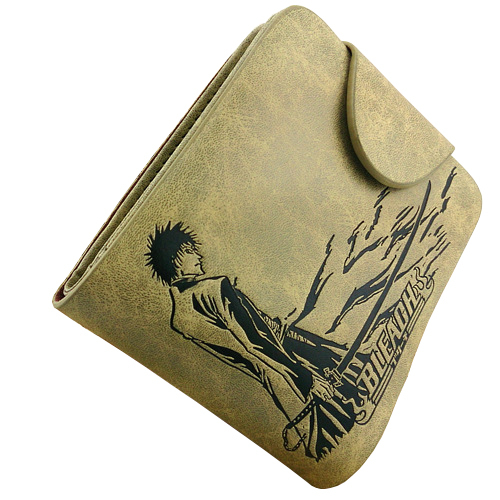 Anime PU Leather Khaki Wallet/Bleach Kurosaki Ichigo Short Purse