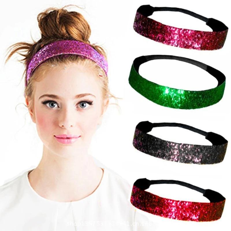 Women Girls Glitter Sequins Headband Party Hairband Makeup Hair Band Accessories