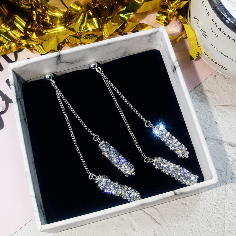 Temperament Fashion Jewelry Crystal From Swarovskis Cylindrical Child Earrings Female Personality Long Tassel Earrings For Woman